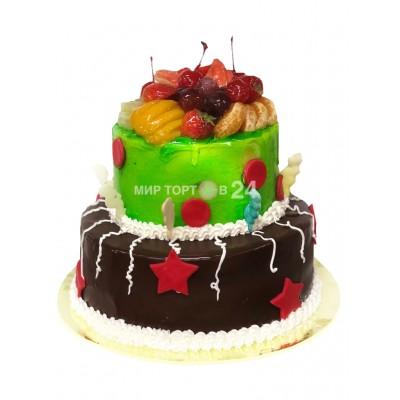 Заказать Торт праздничный двух ярусный с фруктами