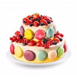 Торт праздничный с макарунами 2