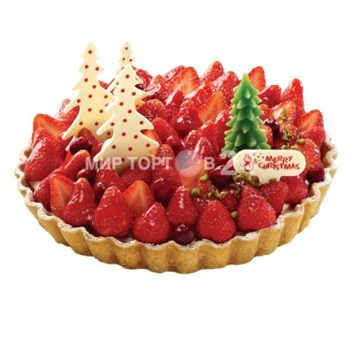Заказать Торт на Новый Год с клубникой и ёлочками