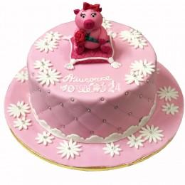 Торт детский розовый с фигуркой свинки
