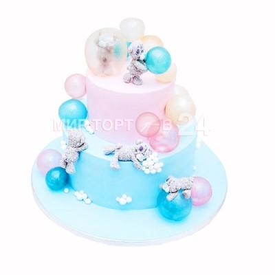 Заказать Торт на Новый Год с мишками и шариками