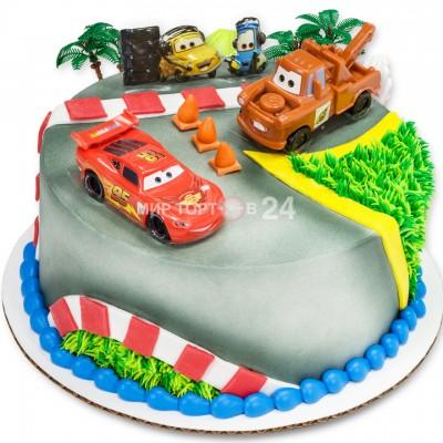 Торт детский с четырмя  машинками