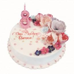 Торт детский с цветами на 8 лет