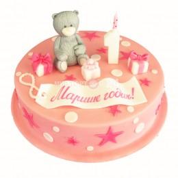 Торт детский с фигуркой медведя на годик