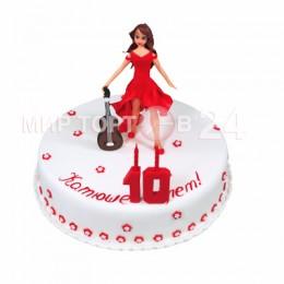 Торт детский с фигурой девочки с гитарой