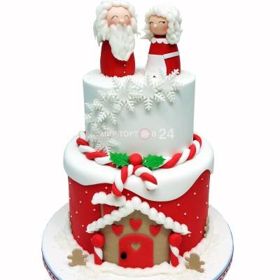Заказать Торт на Новый Год  с Дедом Морозом и Снегурочкой