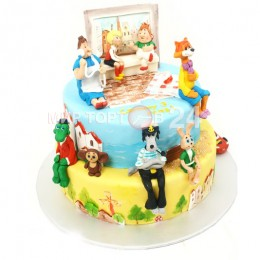 Торт детский с разнообразными мультяшными героями