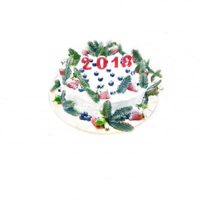 Заказать Торт на Новый 2018 Год  белый