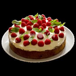 Торт праздничный бисквитный с малиной и лепестками мяты