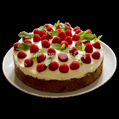 Заказать Торт праздничный бисквитный с малиной и лепестками мяты