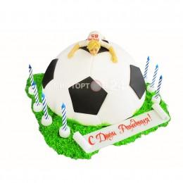 Торт детский в форме футбольного мяча
