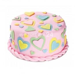Торт детский для девочки с сердечками