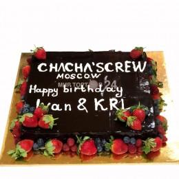 Торт праздничный квадратный с ягодами