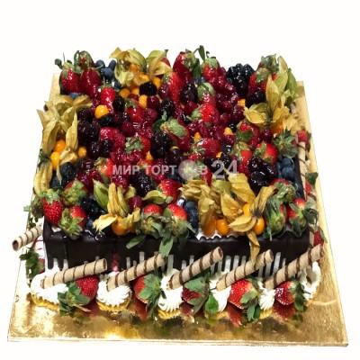 Заказать Торт праздничный ассорти из фруктов и множества физалиса