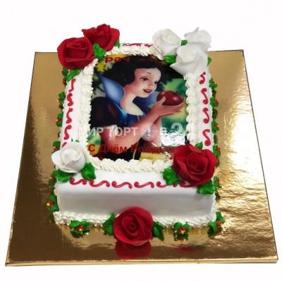 Торт квадратный Белоснежка