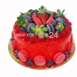 Торт праздничный с макарунами и в красной глазури