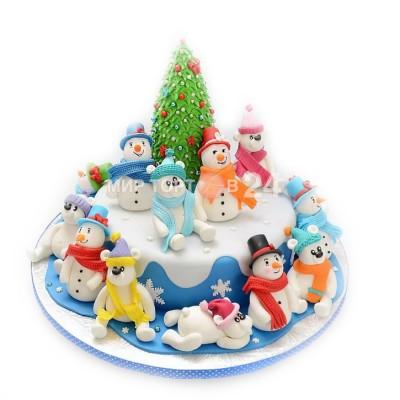 Заказать Торт на Новый Год  с множеством снеговиков