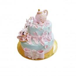Торт детский двух ярусный с чайником сверху