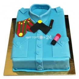 Торт праздничный голубой, в форме рубашки