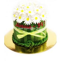 Торт праздничный букет ромашек