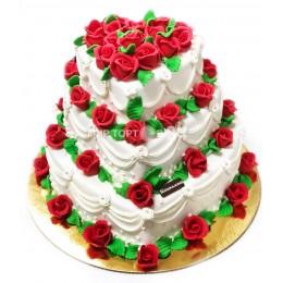 Торт свадебный белый с красными розами