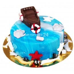 Торт детский с лодкой