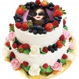 Торт  двухъярусный, белый, с фотопечатью