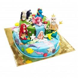Торт детский в морском стиле с Ариэль
