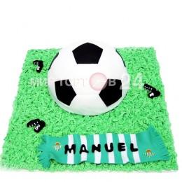 Торт праздничный на чемпионат мира в форме мяча с шарфом