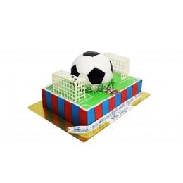 Торт праздничный на чемпионат мира в форме футбольного поля с мячом