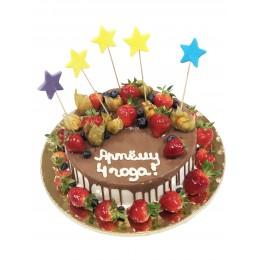 Торт детский с клубникой, физалисом, голубикой, покрытый темным шоколадом
