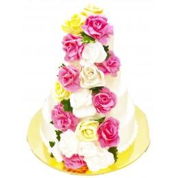 Торт свадебный  с розами  желтых, белых и розовых цветов