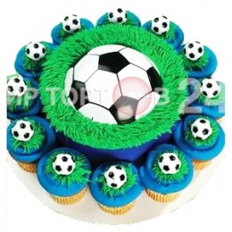 Торт праздничный  на чемпионат мира по футболу с капкейками