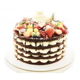 Торт праздничный с открытым бисквитом и ягодами