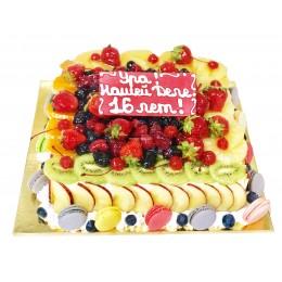 Торт праздничный бисквитно-кремовый с фруктами