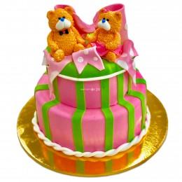 Торт детский двухъярусный с Мишками и бантом