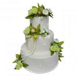 Торт свадебный  белый с цветами фисташкового цвета