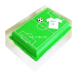 Торт праздничный квадратный на чемпионат мира с рисунком футбольного пола