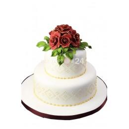 Торт свадебный  с розами на верхнем ярусе