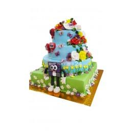 Торт детский 4 ярусный с фигуркой и цветами