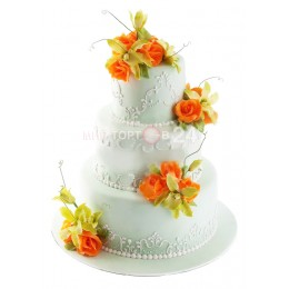 Торт Свадебный с оранжевыми розами
