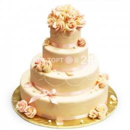 Торт Свадебный молочного оттенка