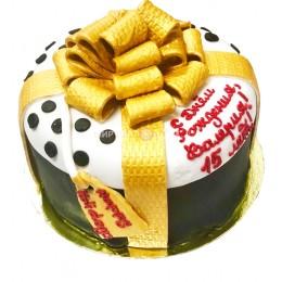 Торт детский в форме подарочной коробки с бантом