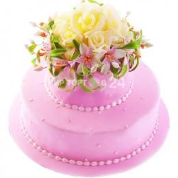 Торт свадебный розовый с живыми цветами