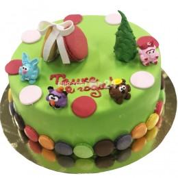 Торт детский Смешарики с елочкой