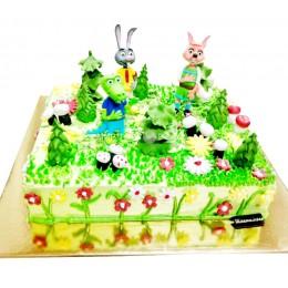 Торт детский зверята в лесу