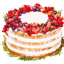 Торт праздничный открытый с ягодами
