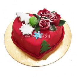 Торт марципан сердце Новогодний