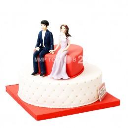Торт Свадебный двухъярусный, красно-белый с фигурками невесты и жениха