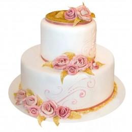 Торт свадебный белый с розовыми узорами